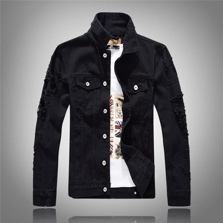 2017 déchiré Denim veste hommes Street Wear veste Hip Hop Denim vestes hommes Jeans veste manteaux Casaca Hombre noir blanc rouge rose