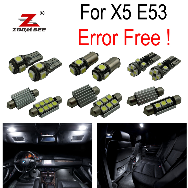 22pcs LED Lâmpada da matrícula + Kit completo de luz de cúpula interior para BMW X5 E53 3.0i 4.4i 4.6is 4.8is (2000-2006)