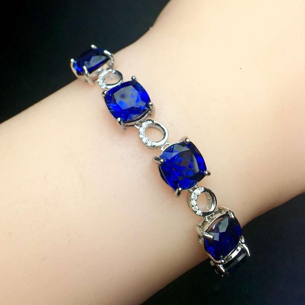 Premium Sapphire Bracelet 925 silver Seiko mosaic Main stone grade 5A Sapphire natural sri lanka sapphire bracelet high clarity of gemstones full scintillation the main stone is 5a sapphire