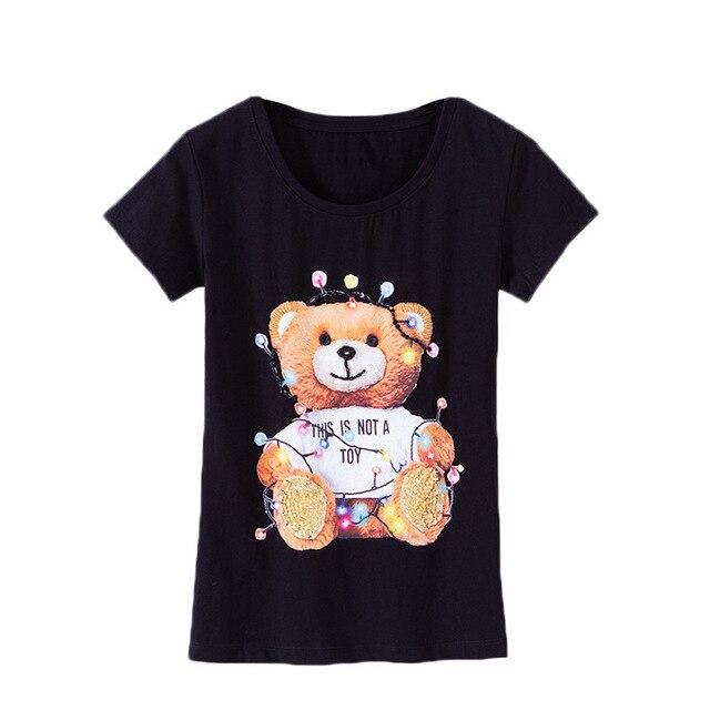 e4ad7276204d Большие размеры 4XL Летняя футболка для женщин с рисунком медведя, модные  тонкие ...