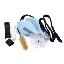 Wholesale 5X Saxophone Cleaning Tool KitCleaning Cloth+Cork Grease+Brush+Thumb Rest+Reed Case