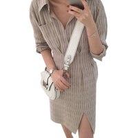 여성 패션 긴 소매 턴 다운 칼라 작업 사무실 드레스 벨트 포켓 섹시한 분할 캐주얼 정장 셔츠 드레