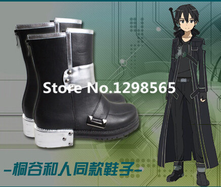 Newest Sword Art Online Kirito Cosplay Shoes Second Black Mens SAO Kirito Cosplay Shoes
