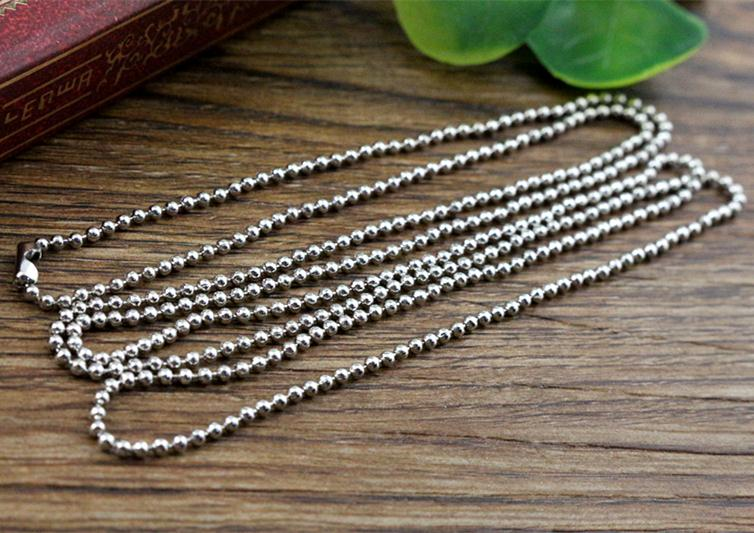 5pcs 1.5mm Rhodium Color Plated  Ball Beads Chain Necklace Bead Connector 65cm(25.5 inch) (Z1-13)5pcs 1.5mm Rhodium Color Plated  Ball Beads Chain Necklace Bead Connector 65cm(25.5 inch) (Z1-13)