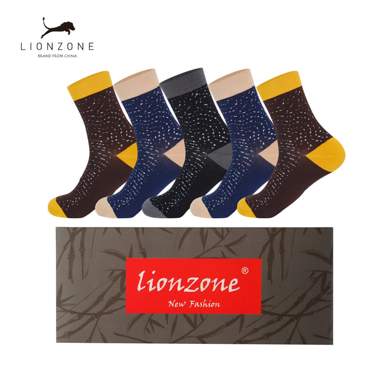 Winter Warm Bamboo Men Socks With Spots Hot Selling Meias Masculinas Atacado Fashion Joker Leisure Daily Socks 5Pairs/Lot Box