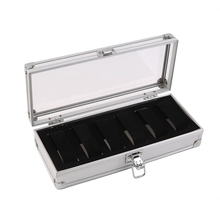 NEW-6 Grid/Slot Watch Box Display Aluminum Jewelry Storage Decorative Case