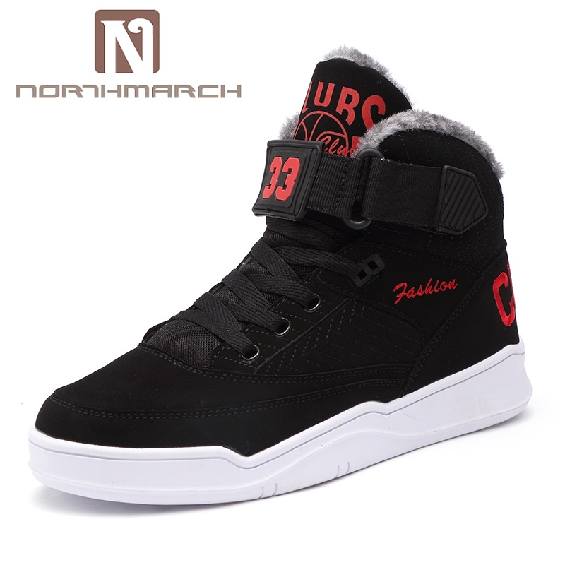 NORTHMARCH Big Size 36-48 Winter Mens Casual Shoes Warm PU Leather High Top Men Sneaker Sepatu Casual Pria Botas De Neve Homens