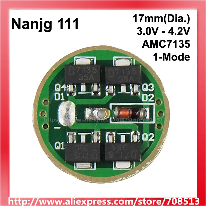 Nanjg 111 3.0V - 4.2V 1/ 2/ 3/ 4x AMC7135 350mA/ 700mA/ 1050mA/1400mA 1-Mode LED Driver Circuit Board - 1 Pc