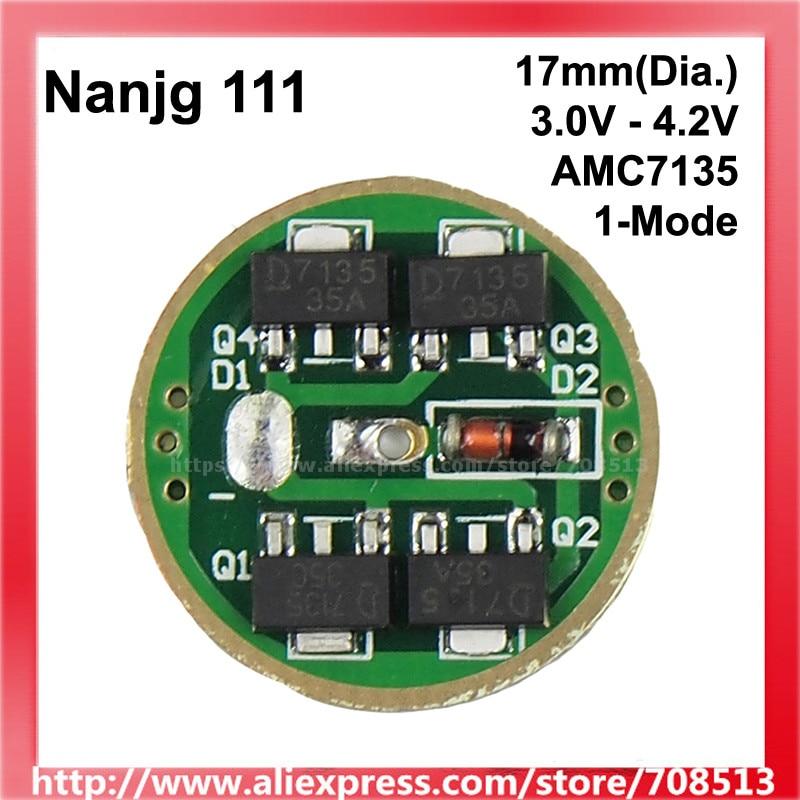 Nanjg 111 3.0V - 4.2V 1/ 2/ 3/ 4x AMC7135 350mA/ 700mA/ 1050mA/1400mA 1-Mode LED Driver Circuit Board - 1 Pc