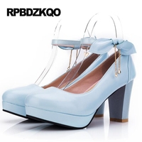Block Round Toe Ankle Strap High Heels 10 42 2017 Blue Bow Lolita Japanese Shoes Ladies