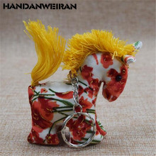 Newest Arrivals Hot Babies Horse Plush Toy Charm Pendant Lovely Ethnic Fabric Style Elephant Toys For Kids Girlfriend Gift 7CM