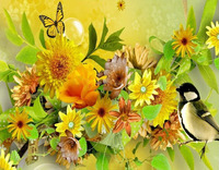 Diy 5d Diamondpainting Mosaic Round Drill Fresh Yellow Flower Family Bird Decorative Ornaments Handmade Decorative Painting
