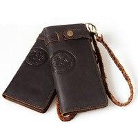 Ретро Crazy Horse кожа ручной мужской длинные дизайнерские Повседневное цепи бумажник мужской моды многослойная день кошелек клатч 3377