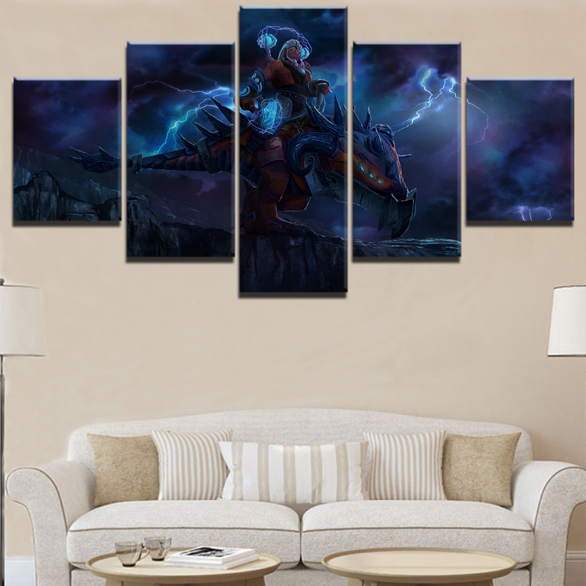 Wall Art For Decor5 Pieces Paintings on Canvas for Living Room Modern Decor DOTA 2 Game Home Artwork