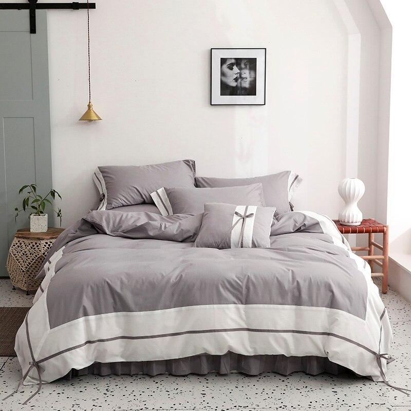 100% Algodão Branco Cinza Patchwork Gasto Duvet conjunto de Cama Tampa 4/6 Peças Consolador Capa folha de Cama Ultra Macio pillow shams