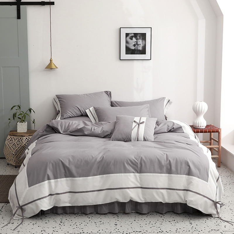 100%Cotton White Gray Shabby Patchwork Duvet Cover Bedding set 4/6Pieces Ultra Soft Comforter Cover Bed sheet Pillow shams
