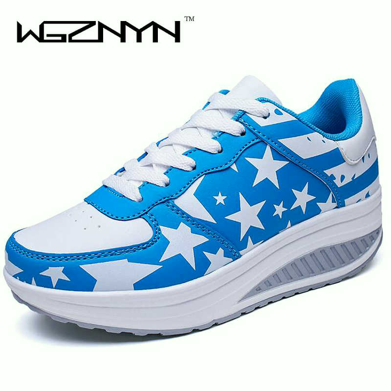Fashion Women Sneakers Wedges Platform Shoes woman Basket Femme Wedges Lace Up Trainers Women Casual Shoes Sapato Feminino W004