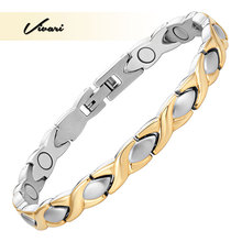 Vivari Bio Energy Health Bracelet For Women Magnetic Bangles Stainless Steel 2-Tone Colors Promote Blood Circulation Bracelets