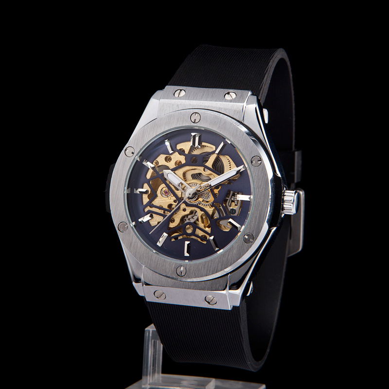 SEWOR Top Brand Luxury Automatic Skeleton Watches relogio masculino Watches Men Silicone band Skeleton mechanical Men's Watch sewor c1257