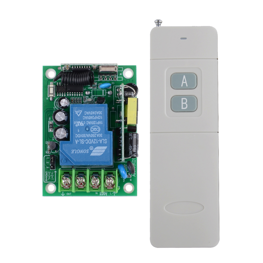 AC85V- 250V 110V 220V 1 Channel 3000W RF Wireless Remote Control Switch System 30A Relay Receiver With 3000M Distant Transmitter ac 250v 20a normal close 60c temperature control switch bimetal thermostat
