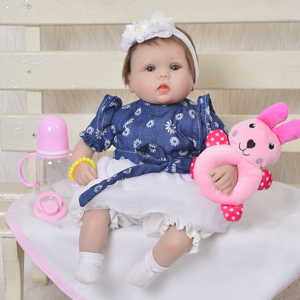 Hot Sale Reborn Baby Doll Soft Silicone Bebe Lifelike 17 Inch Kid Playmate Gift For Girl