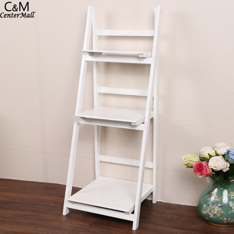 3 Tier Ladder Bookshelf Wood Ladders Standing Shelves Bookcase Storage Stand Newspaper And Magazine Racks children s bookcase shelf bookcase cartoon toys household plastic toy storage rack storage rack simple combination racks