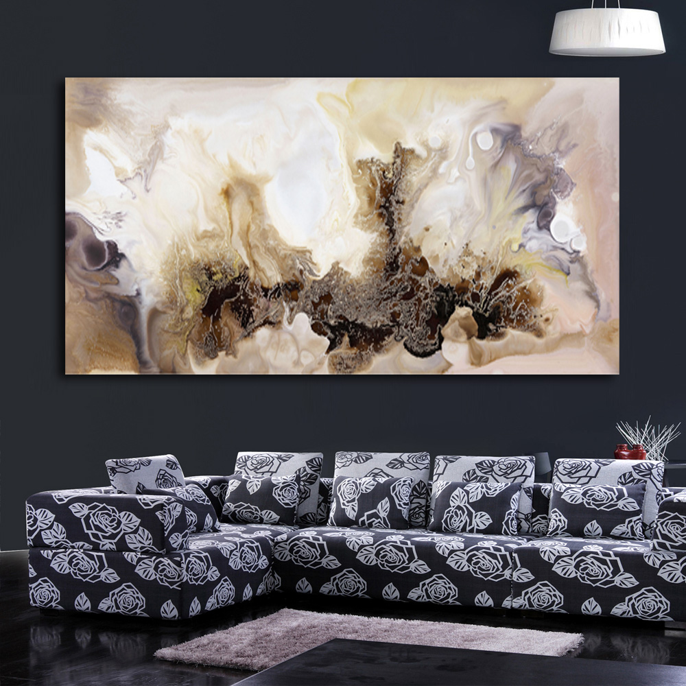 Black white and yellow wall decor : Large canvas wall art modern oil paintings abstract