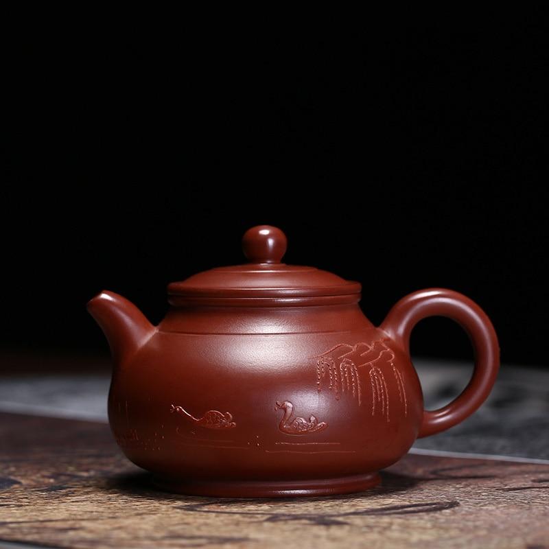 PINNY 130ml YiXing Purple Clay Pan Teapot Zisha Tea Pot Hand Made Natural Ore Sand Crafts Chinese Kung Fu Set