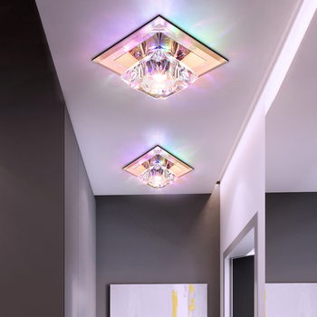 5W LED Ceiling Light Fixture K9 Crystal Lamp Brown glass Hallway Decor Lighting Surface/Flush Mounted