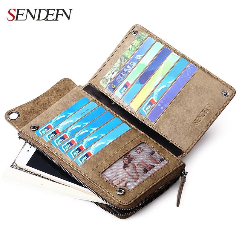 Sendefn Genuine Leather Men Wallets Ultrathin Long Slim Wallet Men Card Holder Leather Wallet Coin Pocket Purse Men Money Bag