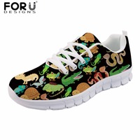 FORUDESIGNS Flats Women Spring Casual Shoes Zoo Animal Puzzle Print Women S Sneakers Female Lace Up
