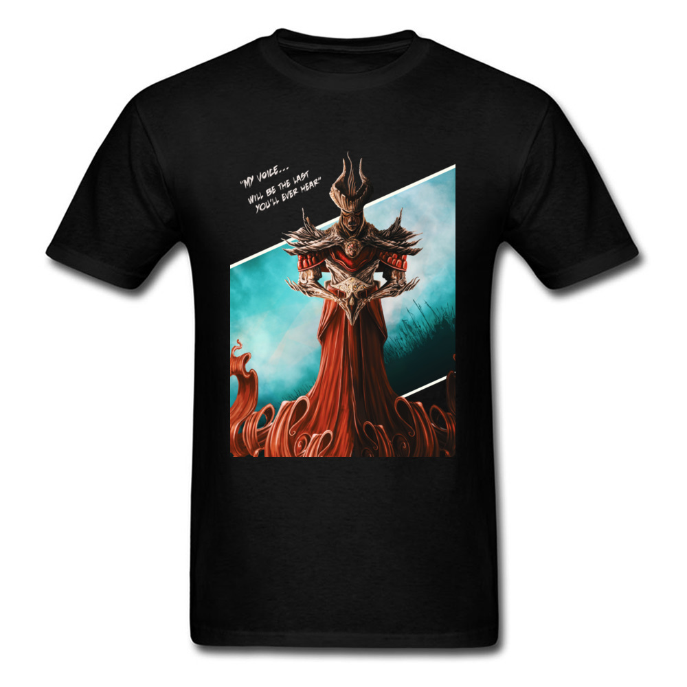 My Voice Will Be The Last Youll Hear Men Black T-shirt Funky Warrior God Print Tops Retro Painting Custom Fashion Tees