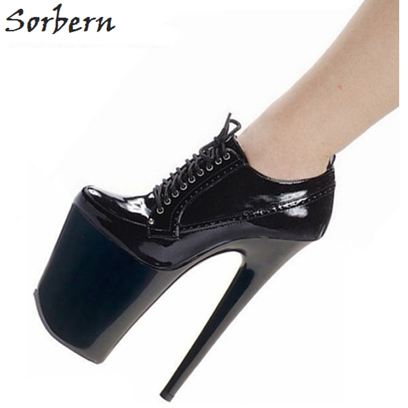 Sorbern Fashion Black 7.8Inch Ultra High Heel Women Pumps Lace Up Shoes Ladies Thick Platform Club Shoes Women 2018 ShoesSorbern Fashion Black 7.8Inch Ultra High Heel Women Pumps Lace Up Shoes Ladies Thick Platform Club Shoes Women 2018 Shoes
