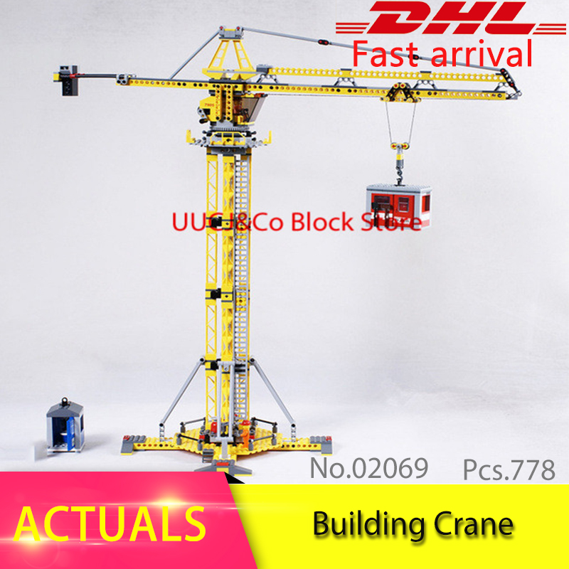 LEPIN City Series 02069 Genuine 778Pcs The Building Crane Model Set Building Blocks Bricks Educational Toys Children Gift 7905 02020 lepin new city series the new police station set children educational model building blocks bricks diy toys kid gift 60141