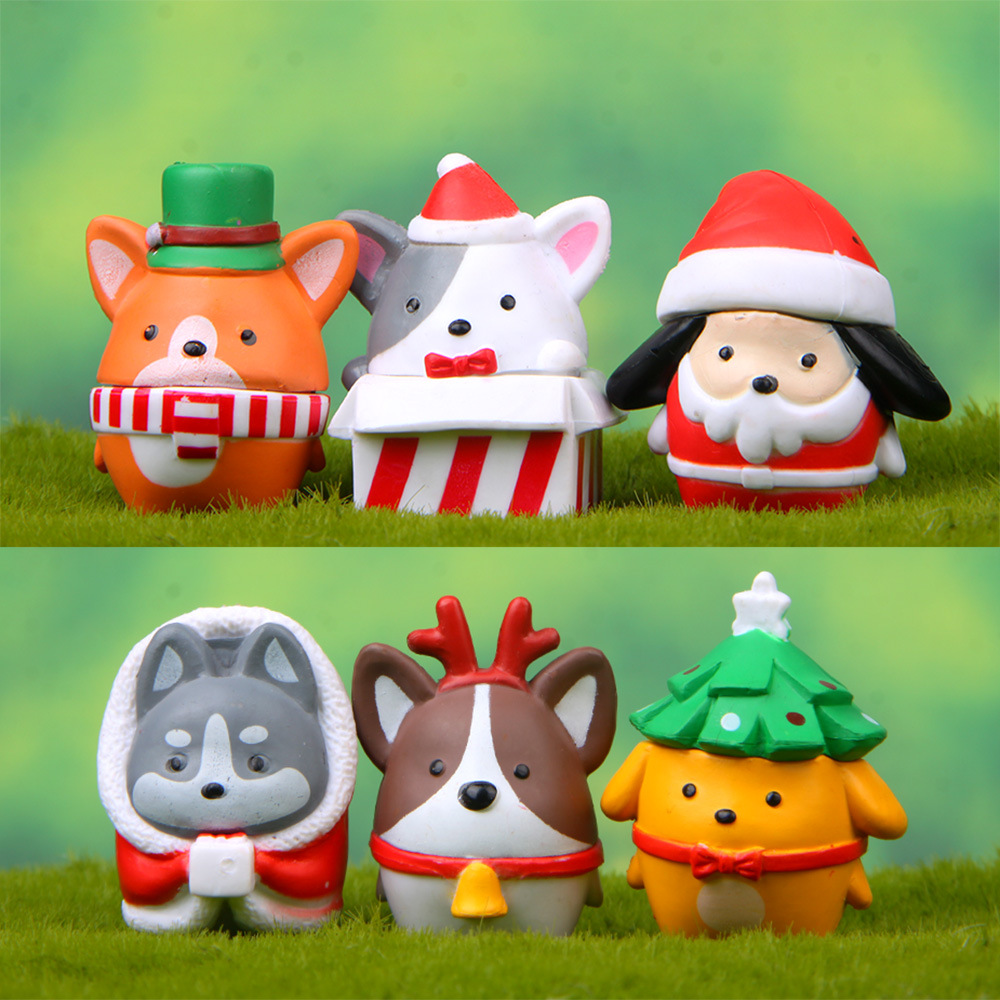 6 Pcs Christmas Shiba Cokey Dog Fairy Garden Miniatures Gnomes Moss Terrariums Resin Crafts Figurines For Christmas Decoration
