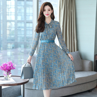 New Autumn Women dress Print Slim Chiffon Long Big Pendulum Dresses Blue 9712