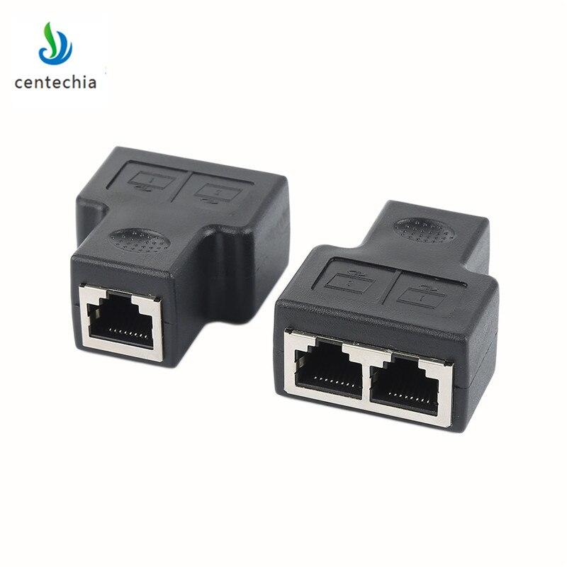 1 to 2 Dual Female Port CAT5//CAT 6 LAN Ethernet Sockt Network Connections Split