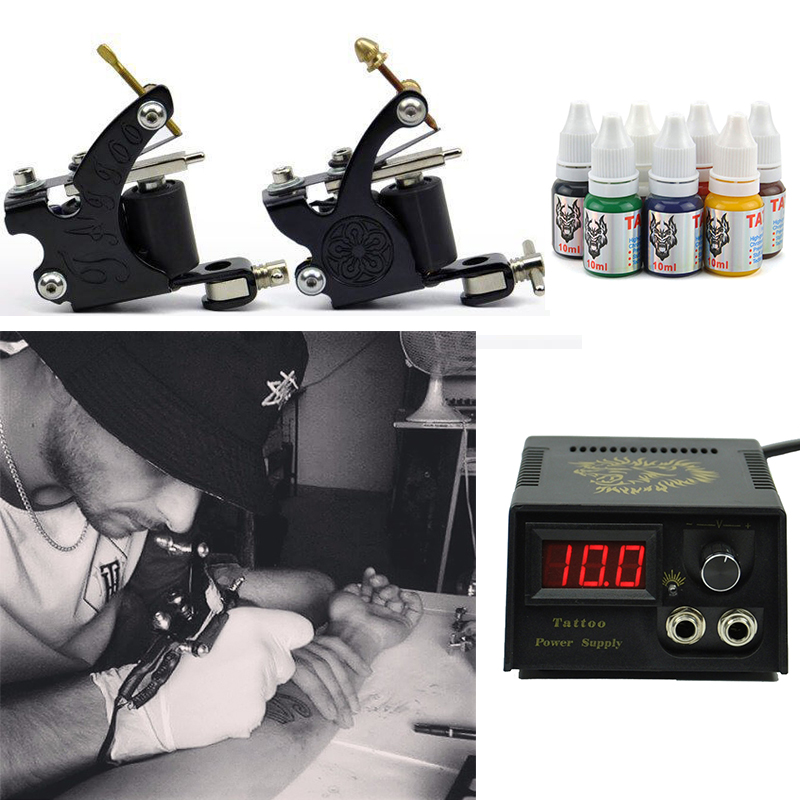 Professional Tattoo kit 2 Tatoo Guns 7 Color Inks complete tattoo machine set rotary Power Supply For body art Tattoo xr brands spire стимулятор простаты с кольцом для пениса