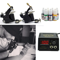 Tattoo Machines Set 2 Tatoo Guns 7 Colors Ink Complete Tattoo Kits With Power Supply Body