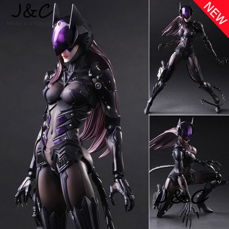 25CM PlayArts PA DC Movie Superhero Batman Catwoman Selina Kyle PVC Action Figure Collectible Model Toys Brinquedos