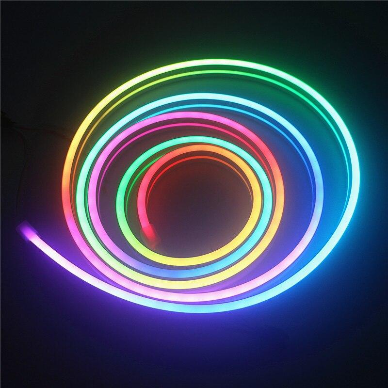 2 m RGB led néon pixel corde DC 5 V WS2812B WS2812 bande de lumière étanche bande de couleur pixel adressable individuellement néon lumière