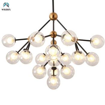 فرع مودو الزجاج المزدوج ظلال g9 أدى تركيبات الإضاءة غرفة المعيشة الثريا الإضاءة الثريا بريقا luminarias