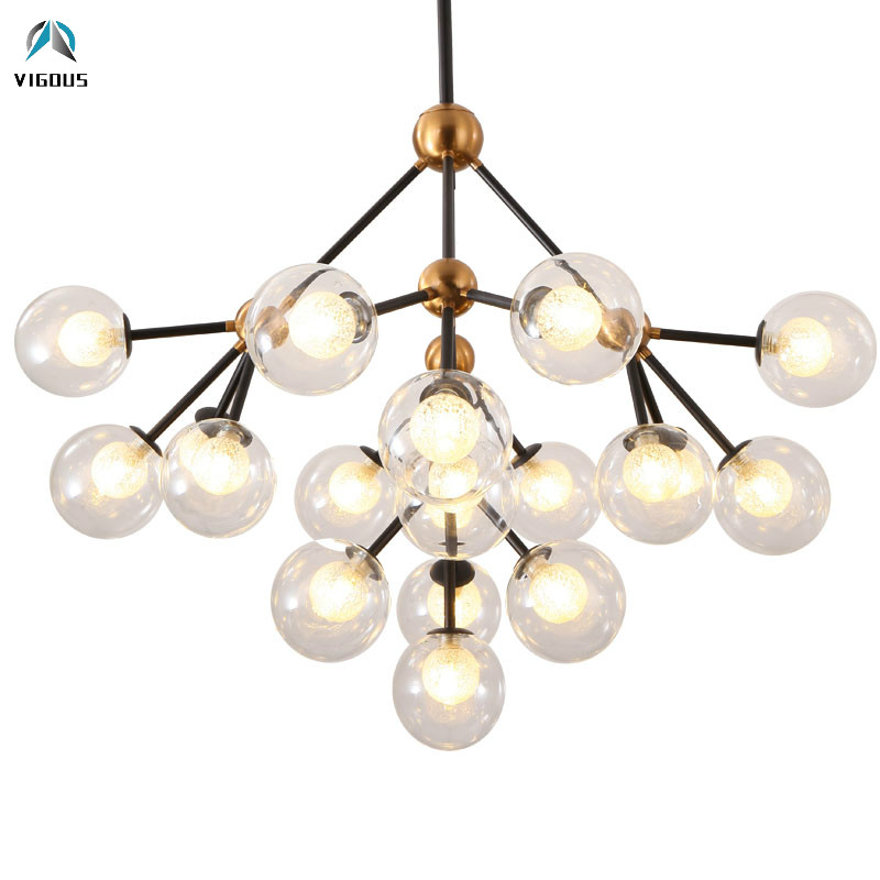 Branch Modo Double Glass Shades G9 Led Chandelier Lustre Luminarias Lighting Fixtures Living Room Pendant Chandelier Lighting