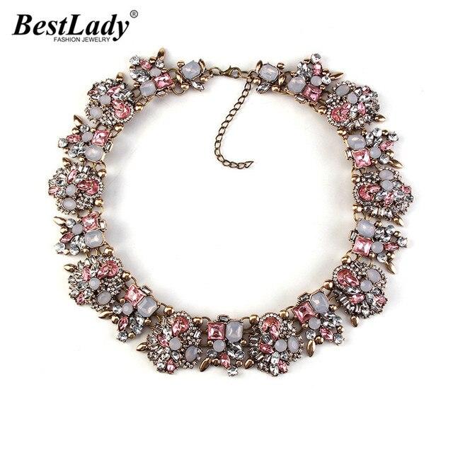 Best lady New Color Women Big Brand l Gem Necklace & Pendants Vintage Luxury Maxi Alloy Statement Necklace Collier Wholesale