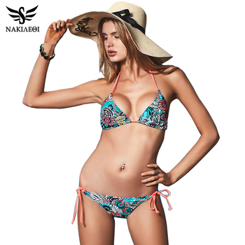 NAKIAEOI Sexy Bikinis Women Swimsuit 2018 Beach Wear Bathing Suit Push Up Swimwear Female Printed Brazilian Bikini Set Swim Wear