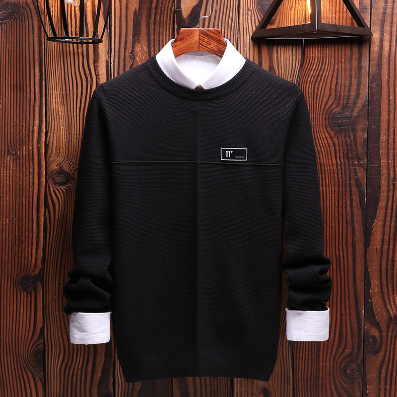 Men O-Neck Pullover  Cotton Sweater Men Solid 2019 Casual Clothes Sweater For Masculino Long Sleeve Autumn Hot Sale