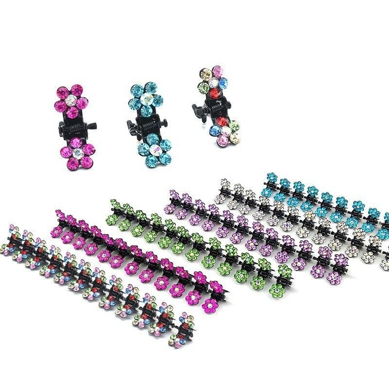 12 PCS New Cute Mini Plum Crystal Hair Claws Hairpins Children Hair Clips Kids Headwear Princess Barrette Girls Hair Accessories
