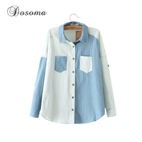Women Blouses Plaid Shirt 2017 Spring Autumn Long Sleeve Casual Blouse Shirt Women Rivet Patchwork Denim