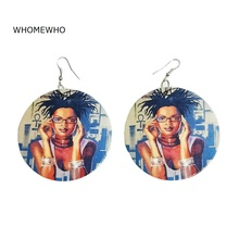 WHOMEWHO Natural Wood Africa Queen Modern Fashion Girl Earrings Vintage Native African Afro Jewelry Wooden DIY Club Accessory