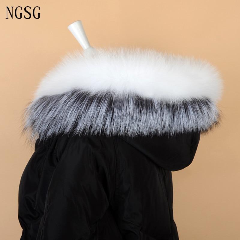 NGSG Real Fox Fur Collar Adult White Fur Jacket Collars 80cm Genuine Gray Silver Fox Hooded